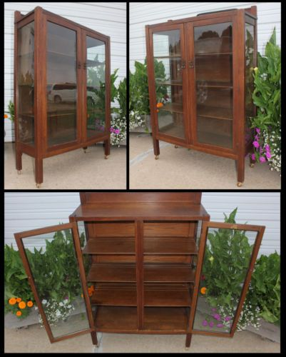 Antique Oak Mission Arts Amp Crafts 2 Door China Display Cabinet North Am Furn Co