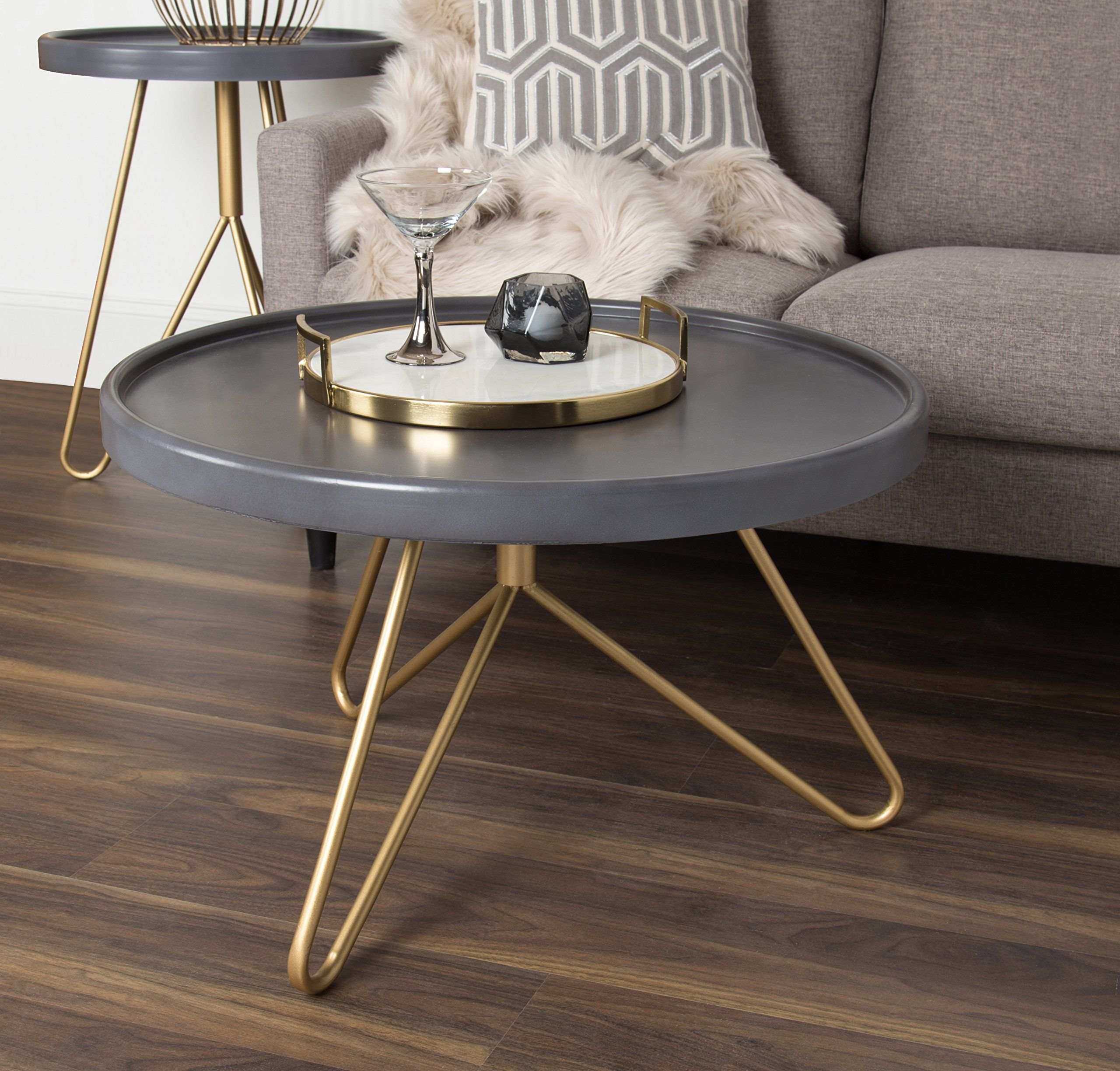 Kate And Laurel Maxey 30inch Round Coffee Table Gray And Gold To Check Out Even More For This Item Coffee Table Round Coffee Table Coffee And End Tables [ 2449 x 2560 Pixel ]