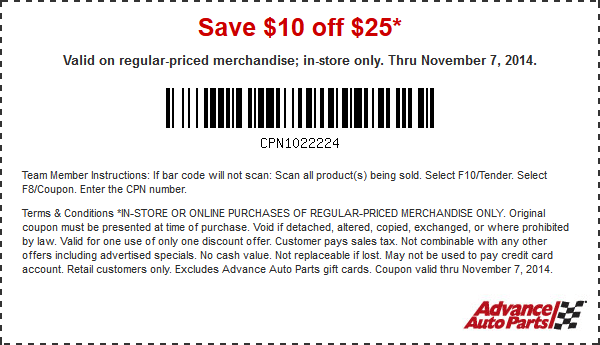 Advance Auto In Store Coupons >> Pinned November 6th 10 Off 25 At Advance Auto Parts Or 20