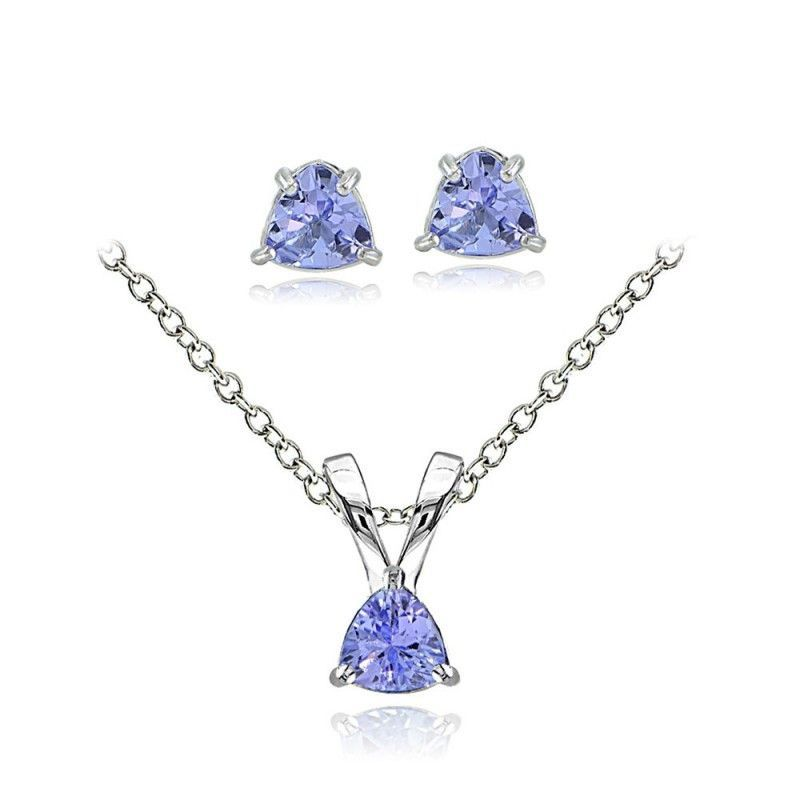 Tanzanite Solitaire Necklace & Earrings Set