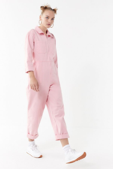 Urban Outfitters Utility Cargo Womens Jumpsuit Pink Long Sleeve Utility Jumpsuit Outfit Utility Jumpsuit Fashion