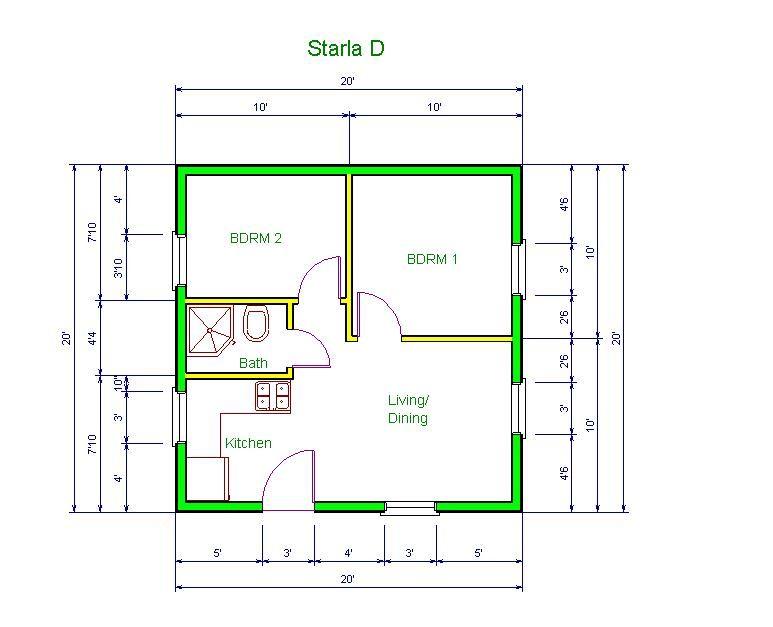 20 X20 Apt Floor Plan Starla Model D Floor Plan 20 X