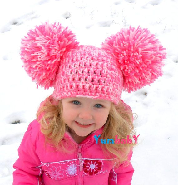 Pom Pom Hat Baby Girl Hat Toddler Hats Big Pom Poms by YumBaby 076b6a37cf9