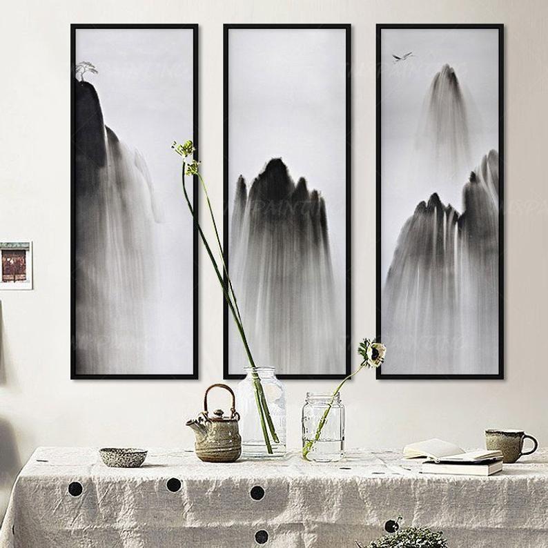 Frame wall art 3 pieces original abstract landscape