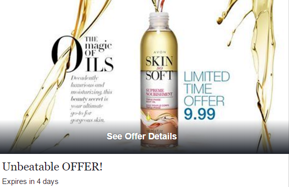 Avon's Triple Phase Body Oil nourishes, and hydrates skin. Limited Time Offer ONLY $9.99!