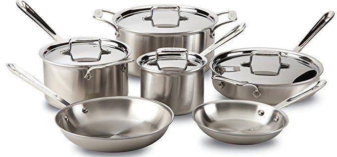 All Clad Bd005710 R D5 Brushed 18 10 Stainless Steel 5 Ply Bonded Dishwasher Safe Cookwar Dishwasher Safe Cookware Safest Cookware Cookware Set Stainless Steel