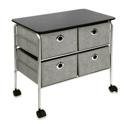 Buy Richards Homewares 4 Drawer Rolling Nightstand In Grey From Bed Bath Beyond Drawers Office Storage Cabinets Storage