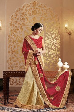 Red With Cream Heavy Butta Work Sarees Online ,Veeshack.com | Fashion for the World - 1