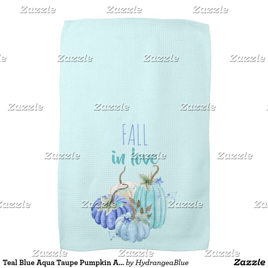 Teal Blue Aqua Taupe Pumpkin Autumn Fall Hand Towel    Teal Blue Aqua Taupe Pumpkin Autumn Fall Hand Towel