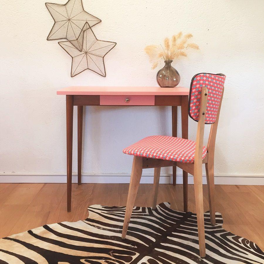 Table bureau table de travail vintage ann es 60 rose mid century modern table desk pink - Customiser un bureau ...