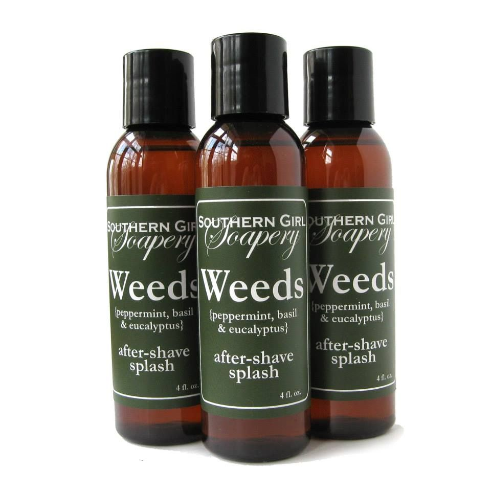 Weeds- Peppermint, Basil & Eucalyptus http://www.soapguildstores.com/southerngirlsoapery/ProductDetail.aspx?CategoryID=4148&ProductID=16324&ProductName=Weeds+After-Shave+Splash