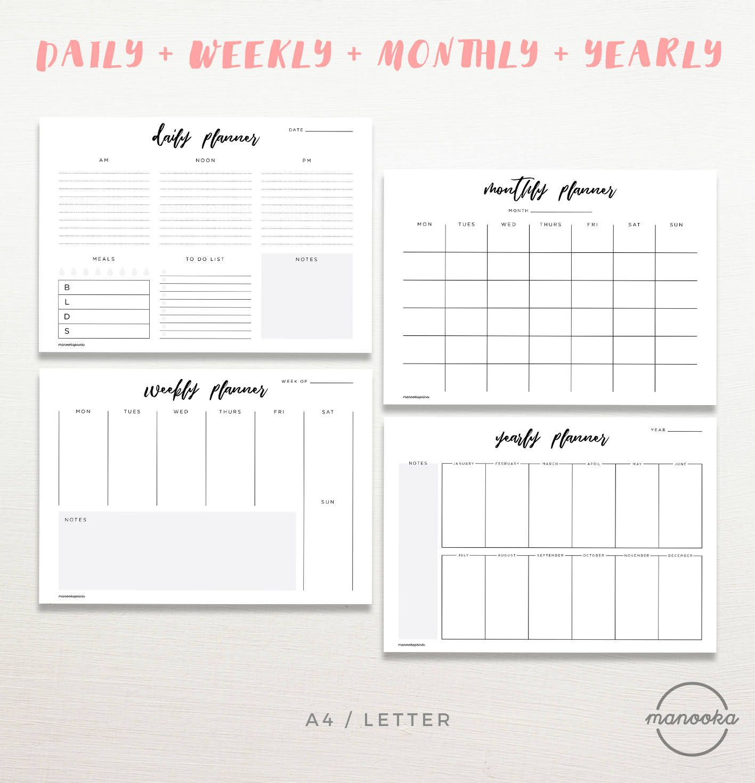 Minimalist Simple Daily Weekly Monthly Yearly Desktop Diy Etsy Wedding Planner Printables Printable Planner Planner