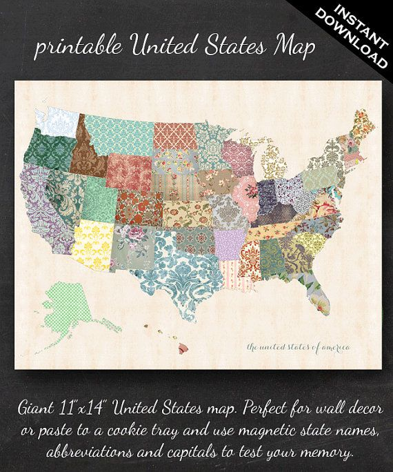 Printable United States Map 11 X 14 Shabby Chic Pdf Nursery Decor