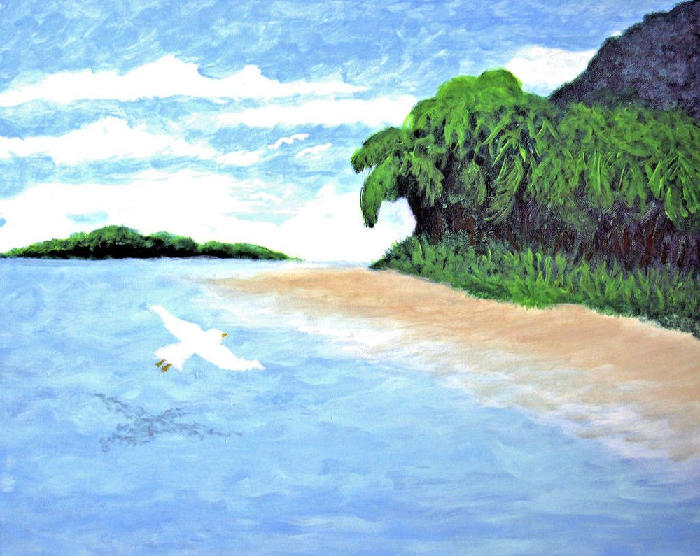 Mysterious Island New Acrylic Landscape Painting Tropical Island Ocean Blue Impressionism Landscape Paintings Acrylic Landscape Paintings Landscape