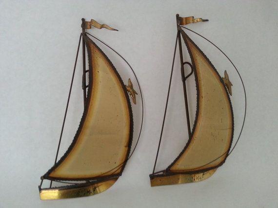 Brass Sailboats Wall Art Metal Boats Wall Hanging Demott Etsy Sailboat Wall Art Metal Wall Art Boat Wall