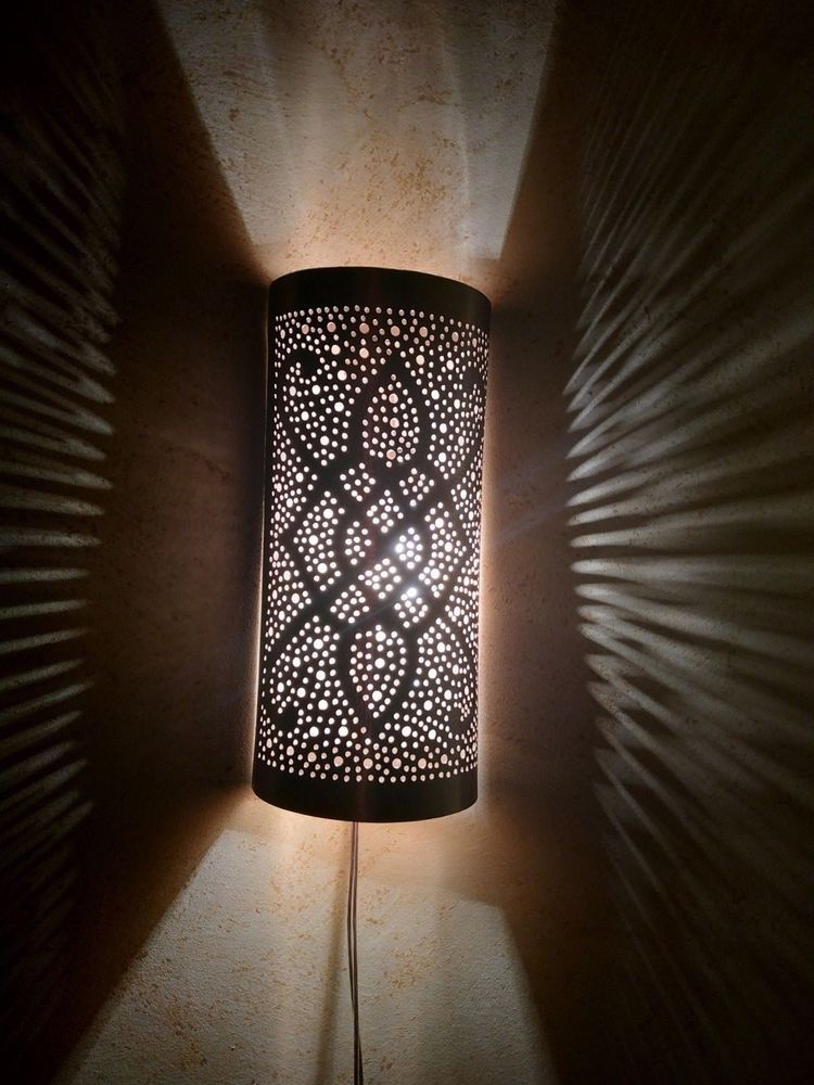 Sconce Copper Engraved Style Antique Brass Moroccan Wall Light