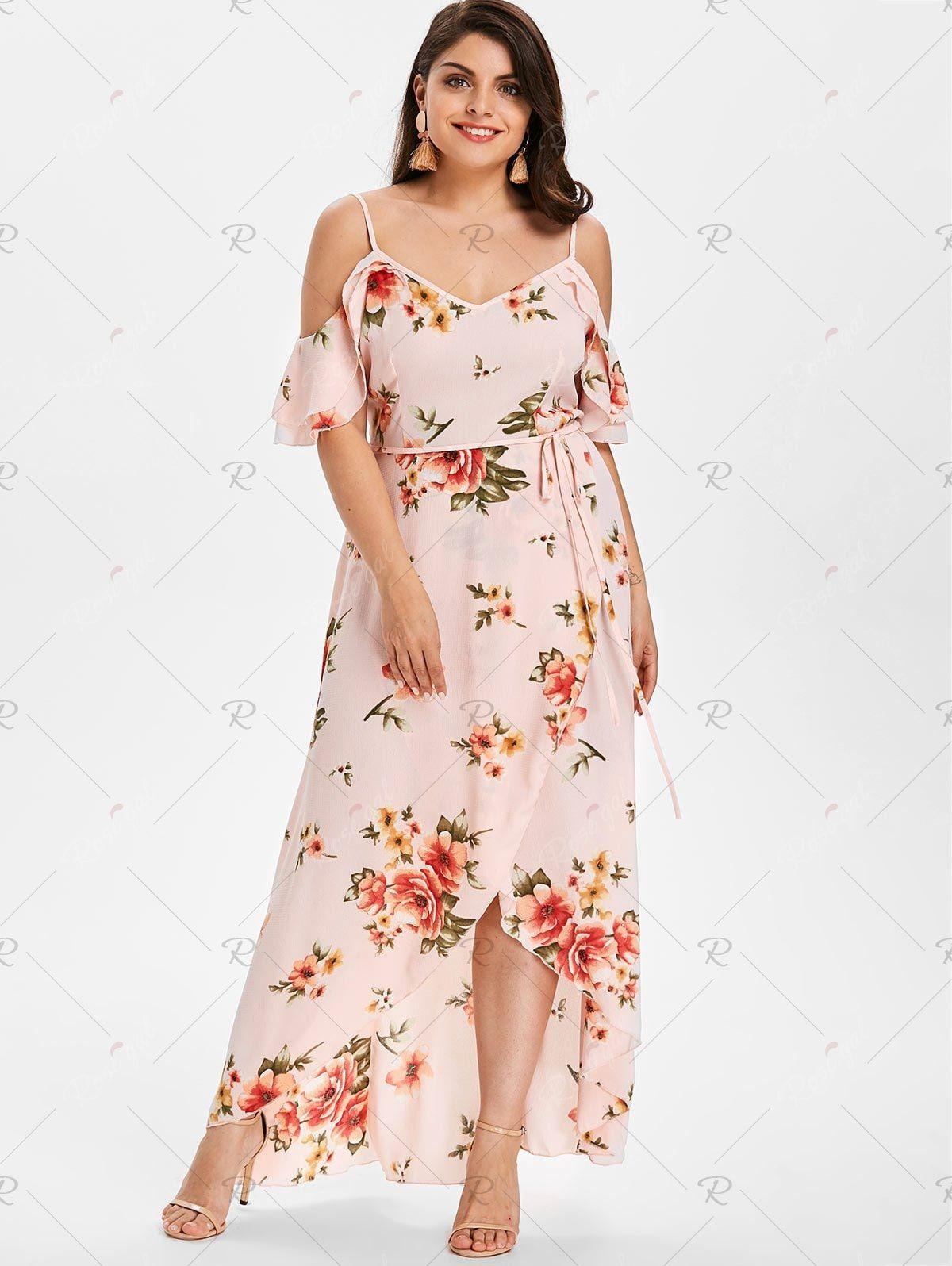 Plus Size Hawaiian Cold Shoulder Maxi Dress | Dresses, Plus ...