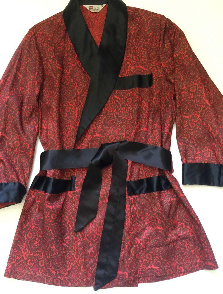 VINTAGE Men s Smoking Jacket Hugh Hefner ROBE Dressing Gown ...