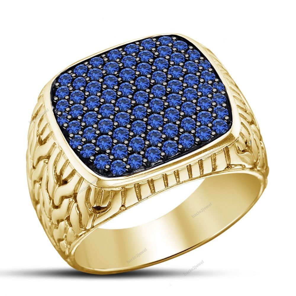 14k Yellow Gold Finish 925 Silver Blue Sapphire Men's Wedding Ring Men's  Jewelry