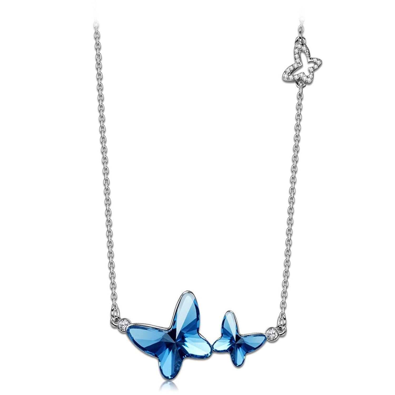 Blue swarovski crystal butterfly necklace 2699 womens