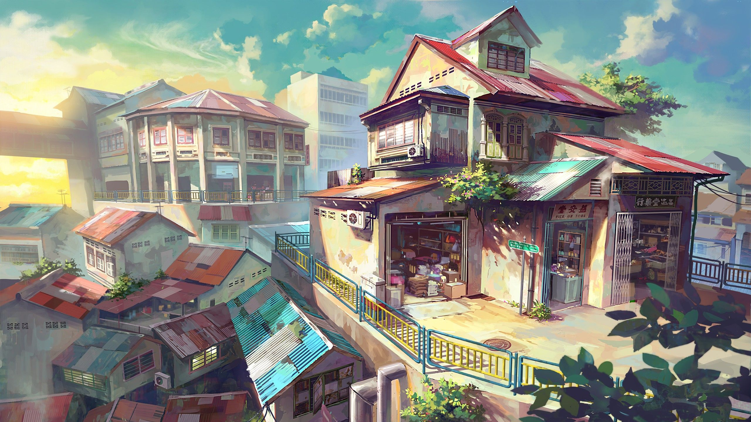 Artwork Cityscapes Clouds Houses Shop Wallpaper 2911873 Wallbase Cc Anime Scenery Wallpaper Anime City Anime Scenery