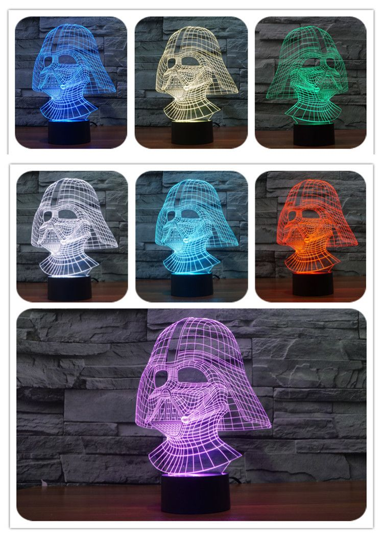 Star Wars 7 Color Changing Visual Illusion Led Lamp Darth Vader Millennium Falcon Toy 3d Light Lightsaber Action Figure Lamparas 3d Ultron Geometria