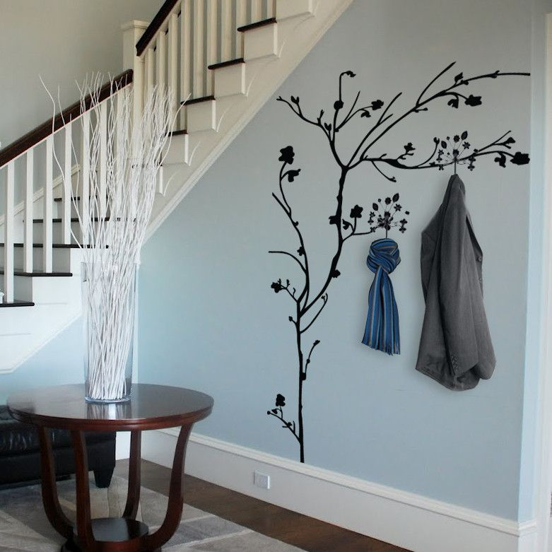 tree with hooks wall sticker wall stickers hallway wall on wall stickers for hall id=57493