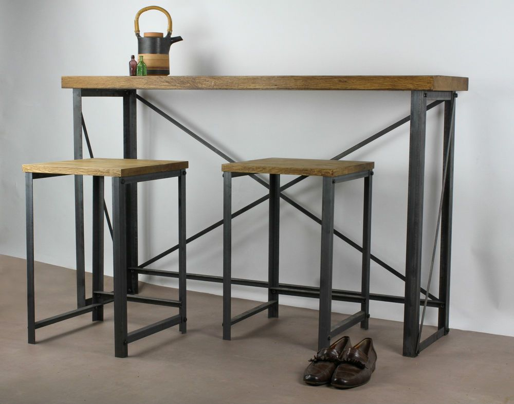 INDUSTRIAL Style Oak Breakfast Bar Table Bespoke Sizes Cafe Restaurant