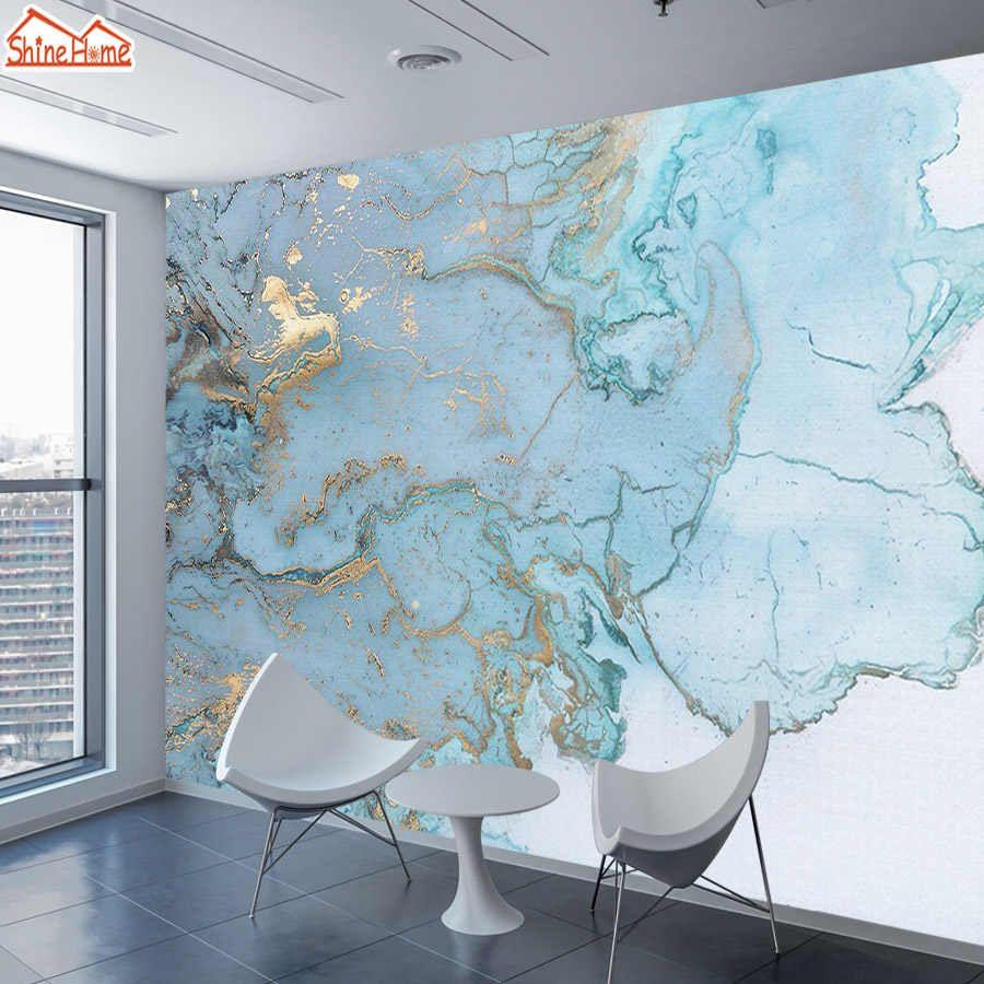 wellyu photo wallpaper Custom wallpaper Elegant light, luxurious, Golden Blue Textured TV background wall tapety behang