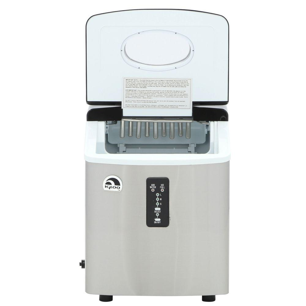 Igloo 26 lb freestanding ice maker in stainless steel