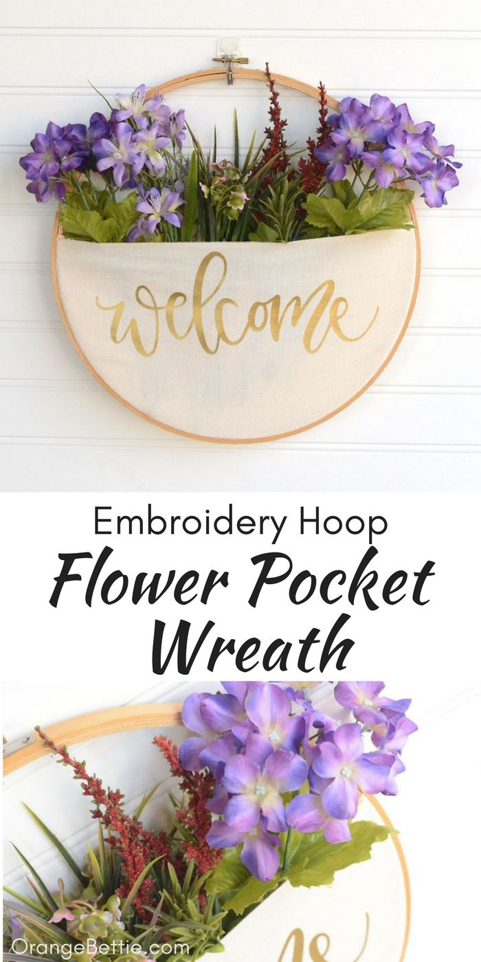 DIY Embroidery Hoop Pocket Wreath - No-Sew Tutorial #embrodery