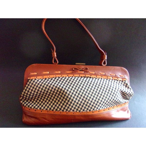 Genuine Leather Jamin Puech Handbag Made In France Checkered Fabric