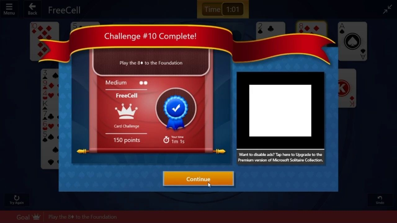 Freecell adventure challenge 10 29th december 2016