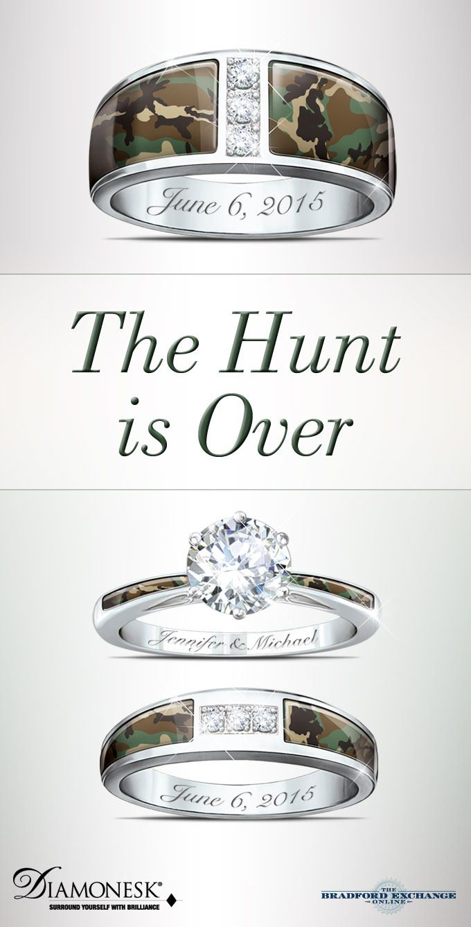 Camo His And Hers Personalized Diamonesk Wedding Ring Set Camo