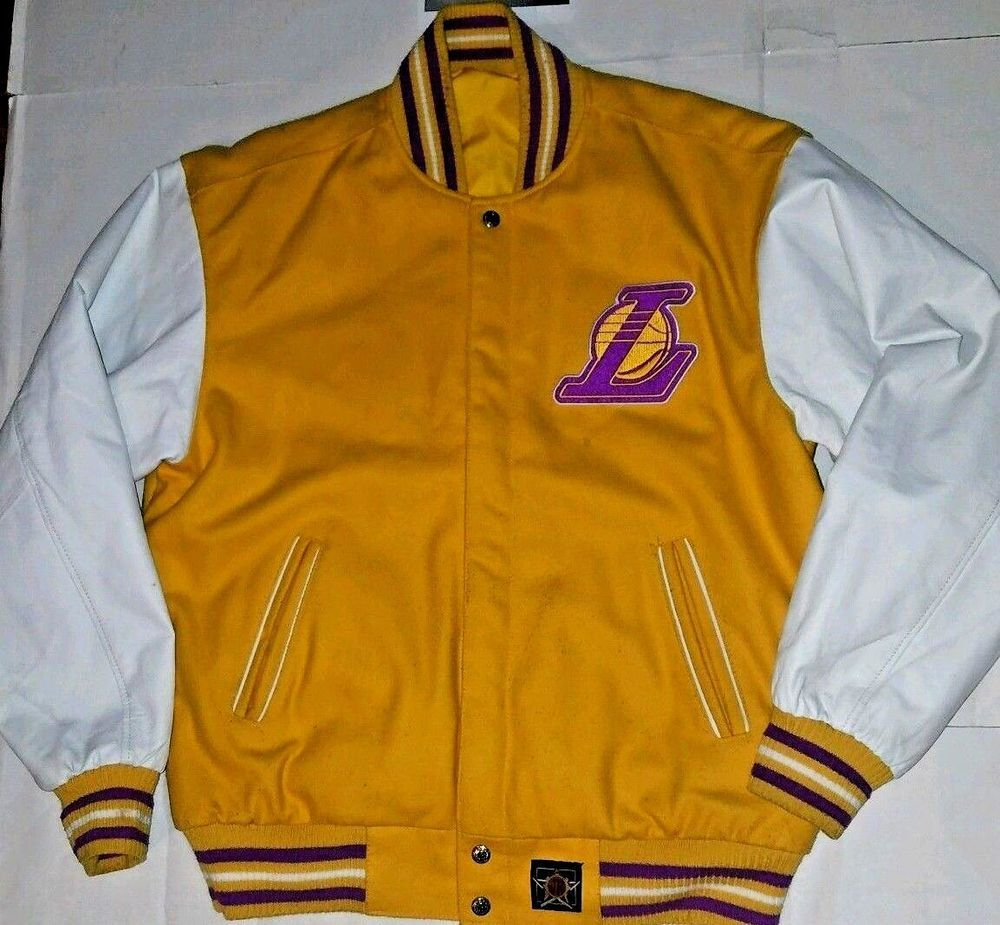LA Lakers Varsity Jacket Reversible Leather Wool SHOWTIME era RARE JH  Design -L-  JHDesign  LosAngelesLakers 0da4c2b9b