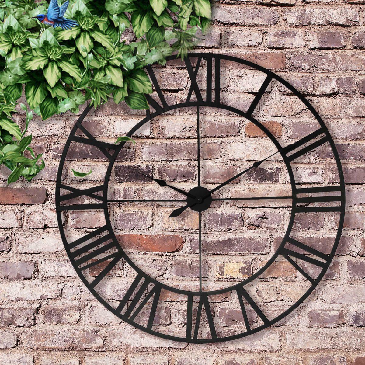 16 23 Large Outdoor Garden Wall Clock Antique Roman Numeral Round Open Face 22 99 Outdoor Cloc Outdoor Wall Clocks Large Outdoor Wall Clock Outdoor Clock