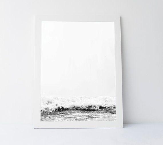 Black white sea sea wall art wave print black by nerolidesign