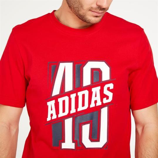 ADIDAS Camiseta Manga Corta Roja Hombre