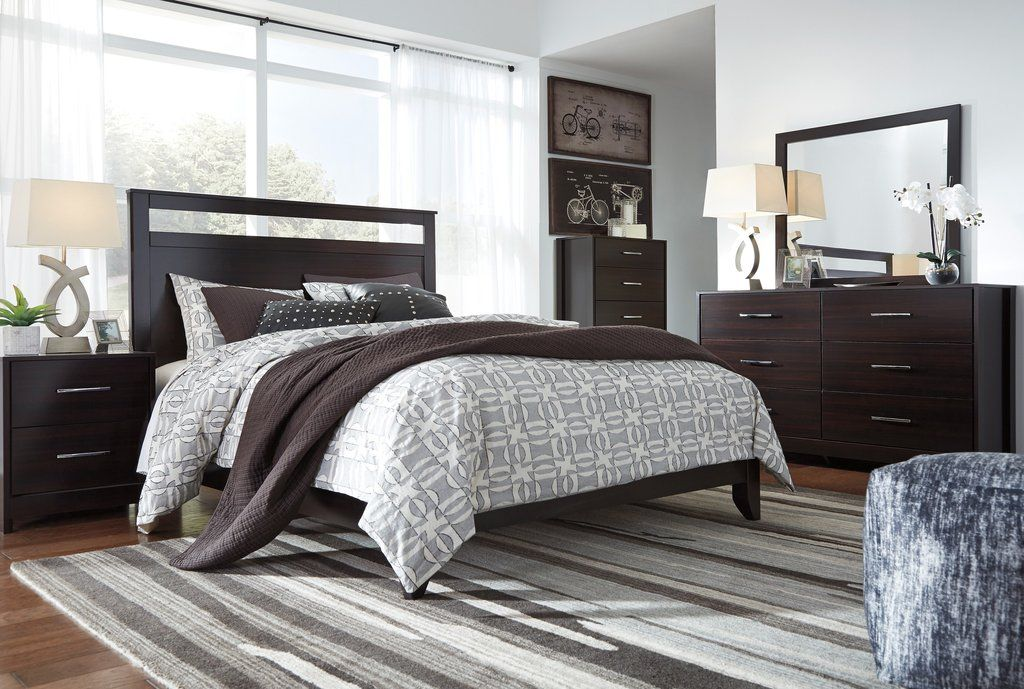 Agalla Contemporary Merlot Hardwood Bedroom Set with King