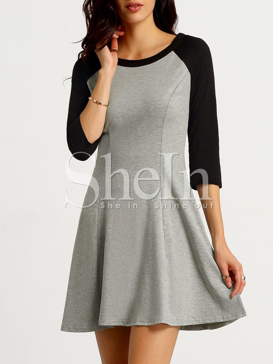 e42a493fe Vestido manga larga color combinado -gris blanco-Spanish SheIn(Sheinside)