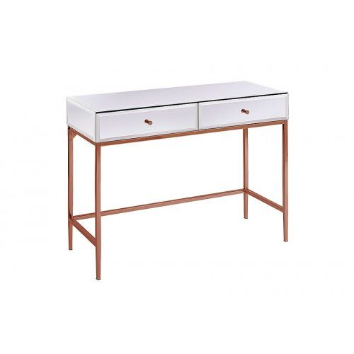 stiletto toughened white glass and rose gold console table