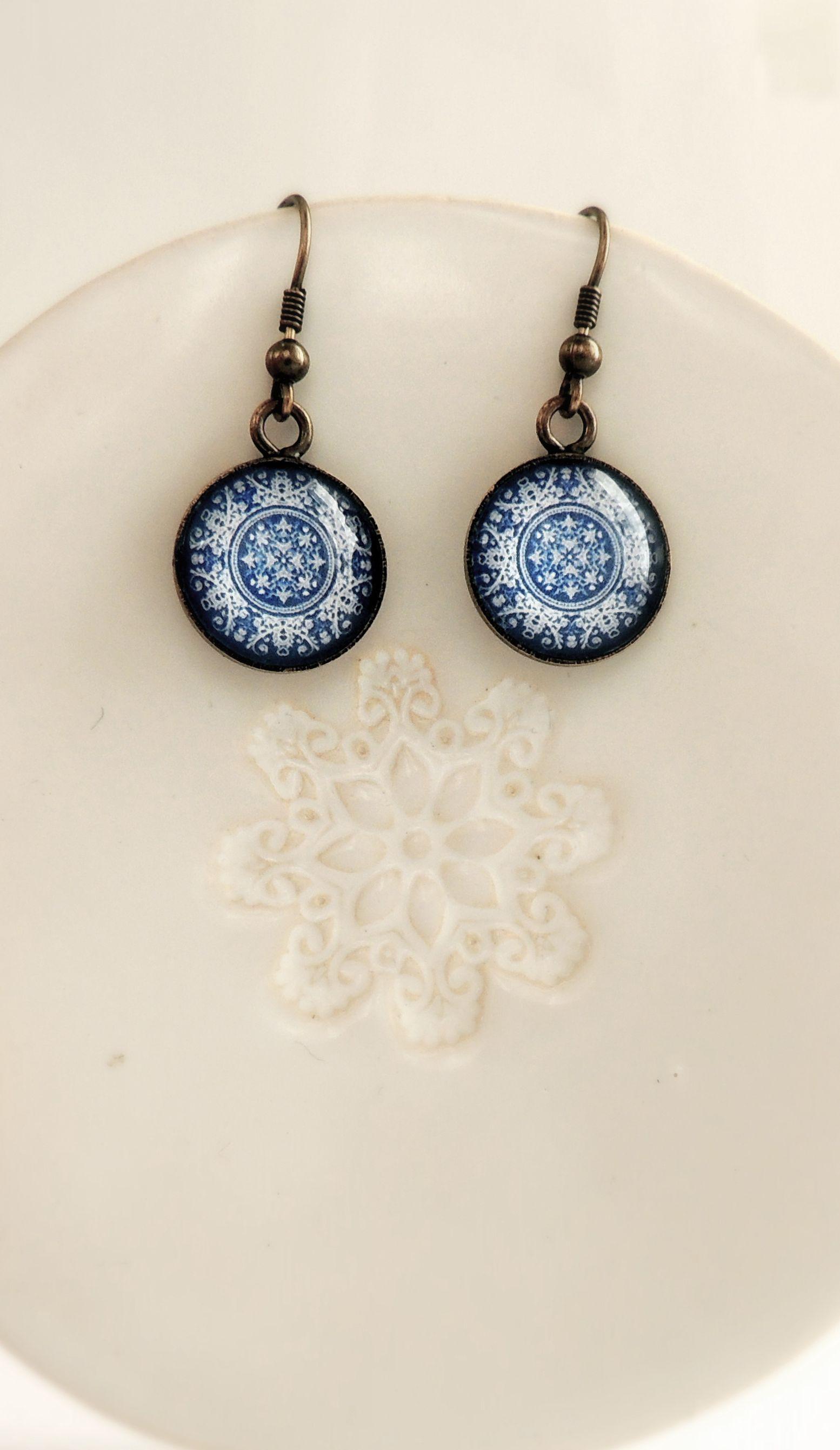 Healing Earrings Portuguese Jewelry Blue PORTUGUESE Mandala Earrings