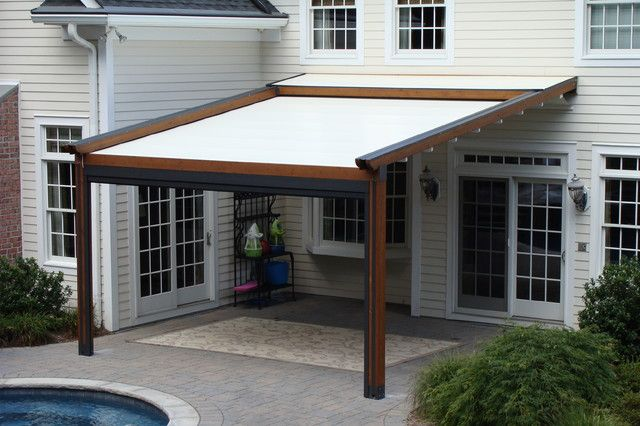Retractable Pergola Awning Best Quality Design Dark Brown Stained Finish Wooden Posts Crossbeams Rafters Battens White
