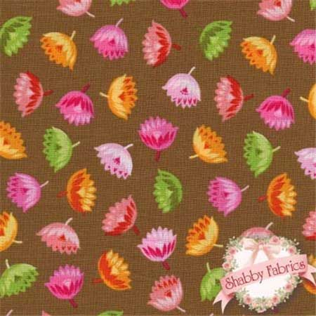 Lakehouse 10019 Cocoa by Holly Holderman for Lakehouse Dry Goods Fabric: This fabric is from the Fun Flowers Collection by Lakehouse Fabrics. 44/45