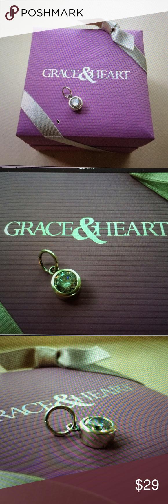 "Grace & Heart April Birth Charm Grace & Heart April Fiery Birth Charm. Clear CZ, Sterling 925.dia 3/8"". Current Catalog. EUC, #P1098SSAPR Grace & Heart Jewelry"