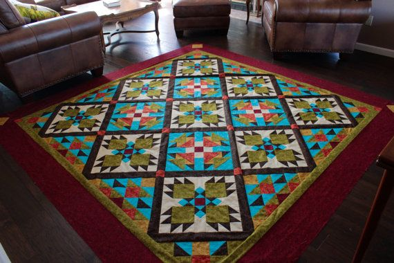 """Southwest Quilt Pattern - Bear Paw quilt - Twin/Full Size: 69"""" x 96"""""""