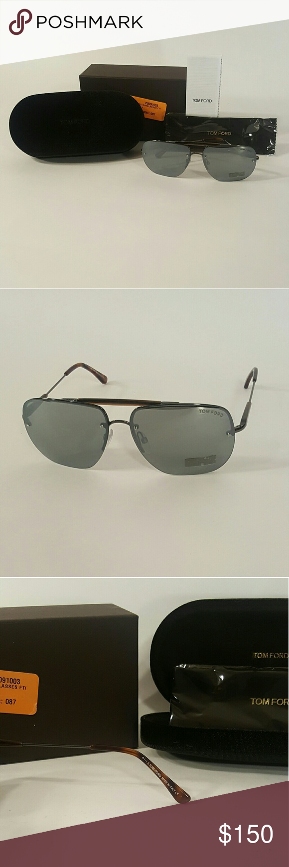 NEW Men's Tom Ford Aviator Sunglasses NEW, all in original packaging. Mens Tom Ford FT0380 Sunglasses  Men's Nils Semi Rimless Aviator Sunglasses Size: 61-13-140 Color: Gunmetal/ Brown/ Grey/ Silver Lens Color: Silver Mirror Opt for a sleek and edgy contemporary look with these Tom Ford FT0380 02B 61 Nils Semi Rimless Aviator Sunglasses in Matte Black.  -Aviator semi-rimless squarer design crafted from a lightweight metal.  -Complete with 'sweat brow? detail - T-logo detail which is a…