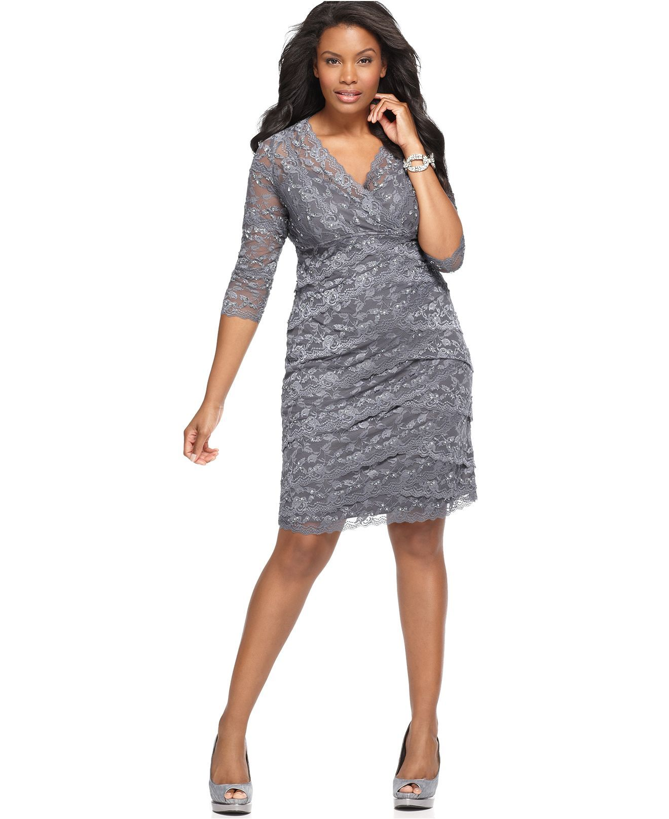 3 4 sleeve plus size dress