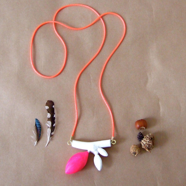 Handmade wooden necklace in neon