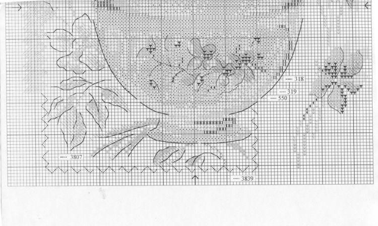 la tasse aux violettes - grille 2/2 (voir ouvrage brodé et points)